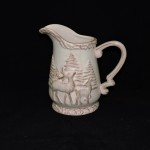Antique White Ceramic Pitcher With Pine Trees & Deer
