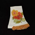 Artistic Accents Embroidered Flower & Butterfly Kitchen Towel