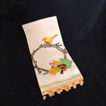 Bella Lux Embroidered Autumn Wreath & Bird Kitchen Towel