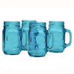 Blue Mason Jar Mugs