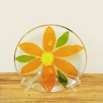 Fenton Fused Glass Orange Flower Plate by Anne Nye