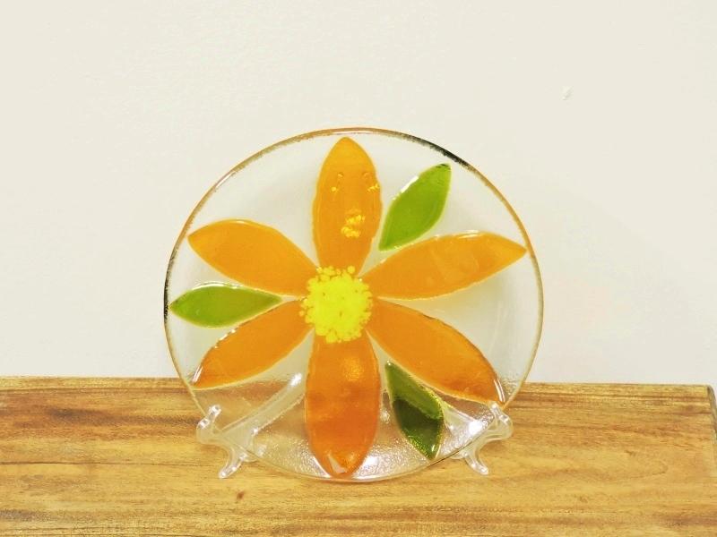 Fenton Fused Glass Orange Flower Plate by Anne Nye & Decorative Plates Trays \u0026 Bowls - Sunflower Shack