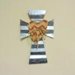 Galvanized Metal Cross With Burlap Heart Center