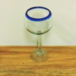 Hand Blown Cobalt Rim Wine Goblet
