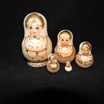 Hand Made Brown & Gold Russian Nesting Dolls