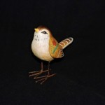 Hand Painted & Carved Resin Bird With Wire Legs