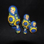 Hand Painted Russian Blue Nesting Dolls With Sunflowers