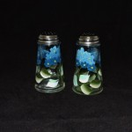 Hand Painted Salt & Pepper Shakers With Blue Flowers