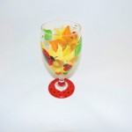 Hand Painted Sunflower & Lady Bug Goblet