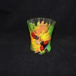 Hand Painted Sunflower & Lady Bug High Ball Glass
