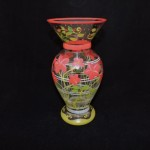 Hand Painted Vase With Peach Flowers