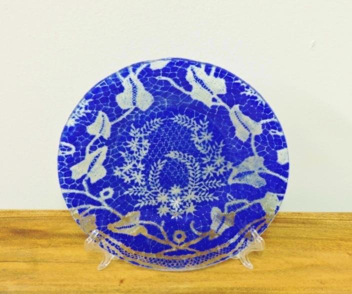 Handmade Fused Glass Cobalt Blue Plate & Decorative Plates Trays \u0026 Bowls - Sunflower Shack