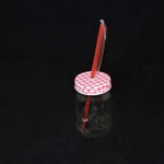 Mason Jar Drinking Glass With Red Gingham Lid & Straw