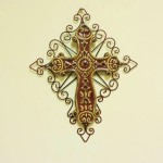 Metal & Ceramic Burgundy & Brown Cross