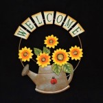 Metal Sunflower Watering Can Welcome Sign