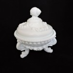 Vintage Westmoreland Milk Glass Argonaut Shell & Dolphin Covered Dish