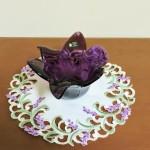 Murano White Cristal Amethyst Flower Dish