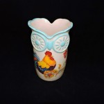 Owl Vase With Rooster