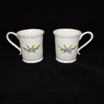 Porcelain Mugs With Purple Flowers