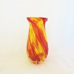 Hand Blown Yellow & Red Vase