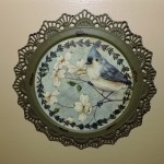 Rustic Blue Jays & Dog Wood Wall Art Plate