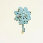 Shabby Rustic Metal Blue Flower Wall Hook