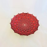 Turkish Silverina Red Flower Bowl