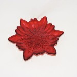 Turkish Red Poinsettia Dessert Plate With Snowflake Center