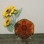 Vintage Anchor Hocking Renaissance Desert Gold Flower Bowl