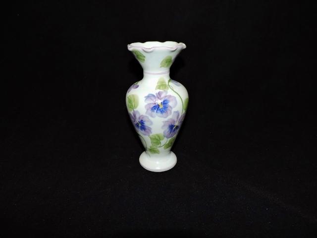 Vintage Andrea By Sadek Vase With Purple Pansies Sunflower Shack