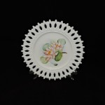 Vintage Hand Painted Milk Glass Plate With Flowers