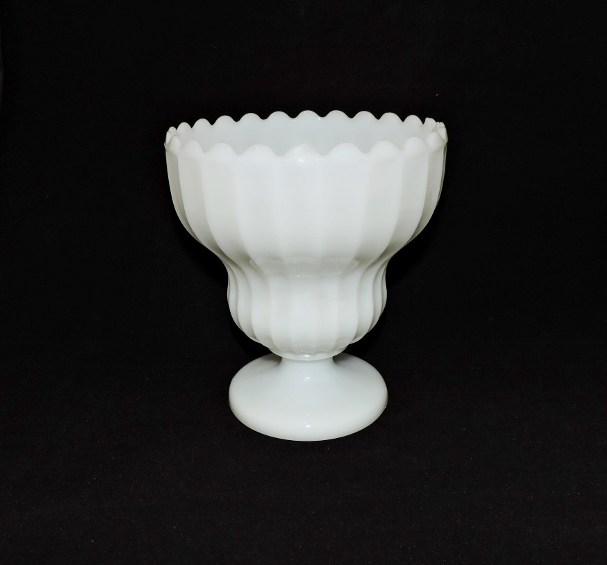 Vintage Large Milk Glass Compote With Scalloped Rim Sunflower Shack