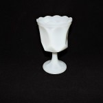 Vintage Milk Glass Goblet With Scalloped Rim