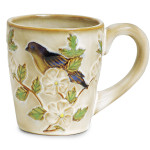 burton + Burton Hand Painted Porcelain Blissful Garden Blue Bird Mug