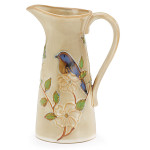 burton + Burton Hand Painted Porcelain Blissful Garden Blue Bird Pitcher