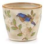 burton + Burton Hand Painted Porcelain Blissful Garden Blue Bird Planter