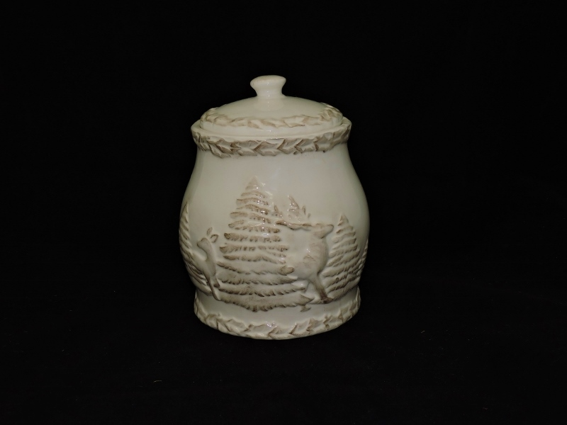 Antique White Cookie Jar Canister With Deer Pine Trees