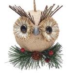 burton + Burton Burlap Christmas Owl Ornament