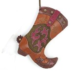 Cowboy Boot Christmas Stocking With Brown Felt Back by burton + Burton