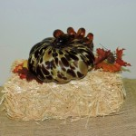 Hand Blown Brown Spotted Pumpkin