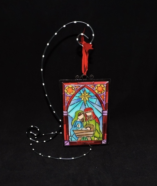 Holy Family With Angel Hair Glass Ornament: Sunflower Shack