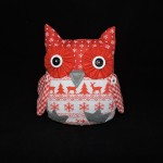 Stuffed Red & White Christmas Owl