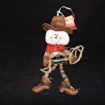 burton + Burton Stuffed Snowman Cowboy Christmas Ornament