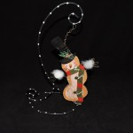 burton + Burton Wood & Wire Snowman With Top Hat Christmas Ornament