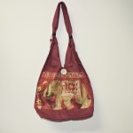Indian Tribal BoHo Burgundy Bag With Elephant