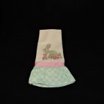 Embroidered Beige Kitche nTowel With Easter Bunny & Pink Flowers