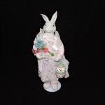 Vintage Porcelain Girl Bunny With Stand