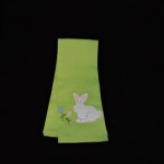 Well Dressed Home Embroidered Felt Green Easter Bunny Kitchen Towel