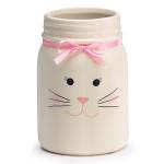 burton + Burton Ceramic White Bunny Mason Jar