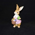 burton + Burton Hand Painted Resin Brown Girl Easter Bunny Figurine